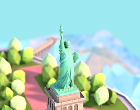 Low Poly Statue of Liberty 3D asset