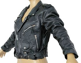 Jacket Moto Black Leather Closed Women Men 3D asset