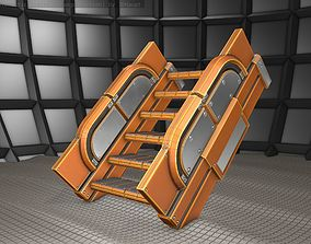 Sci-Fi Stairs - 22 - Orange Version 3D model low-poly