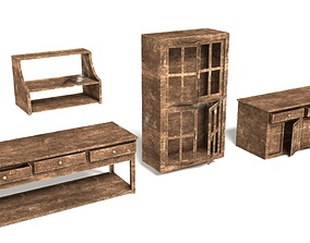 3D asset Old Wooden Furniture