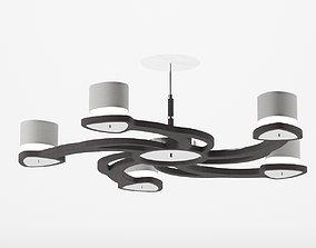 Dark wood chandelier 3d model