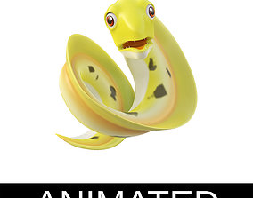 Morey Eel Fish Cartoon Style Animated 3D model