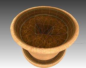 3D model low-poly Flower Pot full with soil