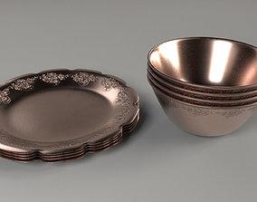 Classic dish set 3D asset low-poly