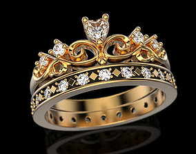 Crown ring 5 - many sizes 3D print model