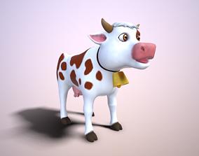 3D model animated cartoon cow