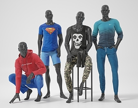 Male mannequins with clothes RELAXED pack 3D