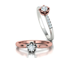 Floral design Solitaire Classic ring Own design 3dmodel
