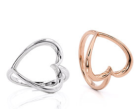 Jewelry Ring Big Heart without stones - 3D model