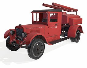 3D asset VR / AR ready soviet truck fire engine