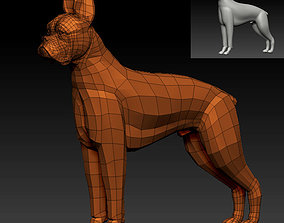 low-poly 3D BOXER DOG