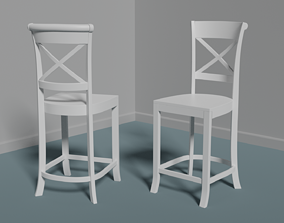 Wood white or black height chair 3D model