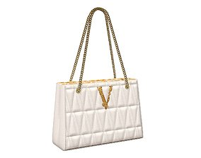 Versace Virtus Quilted Small Tote Bag White 3D model