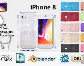 iPhone 8 4K 12 Colors Plus Accessories 3D model