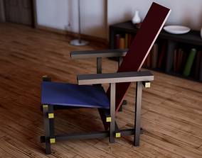 UE4 Asset - Red and Blue Chair by Gerrit Rietveld low-poly