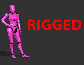 3D asset Female Robot Rigged