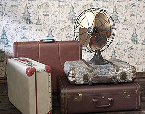 Vintage Fan and Suitcases 3D
