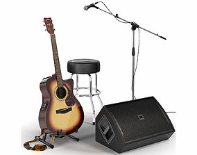 Guitar set for stage 3D model