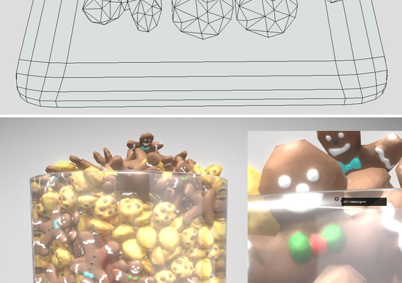 Gingerbread People And Cookies Low-Poly