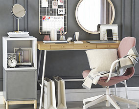 3D ikea lillasen dressing table and workplace