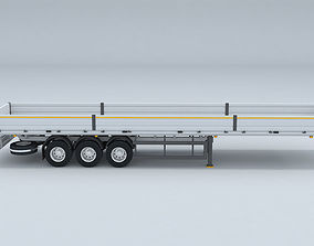 TRUCK flatbed trailer 3D model 3D model industrial
