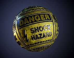 3D model Danger Shock Hazard Sign Dirty Seamless PBR