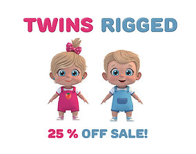 rigged Cartoon Baby Twins Rigged 3D model