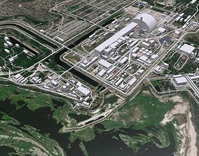 3D Cityscape Chornobyl nuclear power plant in Ukraine