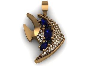 Model of fish pendant with diamonds