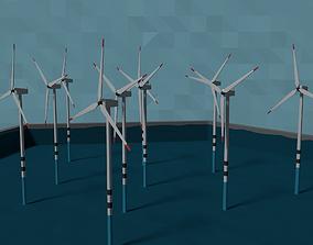 LowPoly Offshore Wind Powerplant 3D model