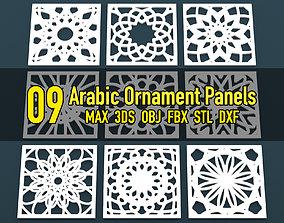 Collection of Arabic ornament panels CNC 3D model