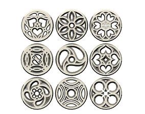 9 medieval ornaments 3D print model