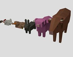 Rigged farm animals 3D asset