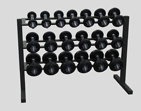 Dumbbell rack with dumbbells 3D model sport