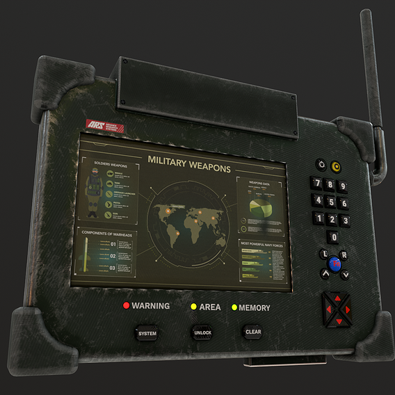 Military Tablet PC Console Low-poly 3D model