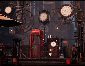 3D asset Steampunk Victorian Props Set Both Interior and