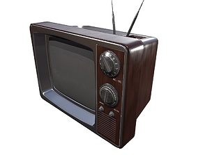 Vintage Television Game Ready 3D model