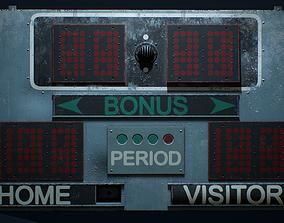 PBR Retro Basketball Scoreboard 3D asset