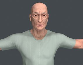 3D model rigged VR / AR ready Old Man aged