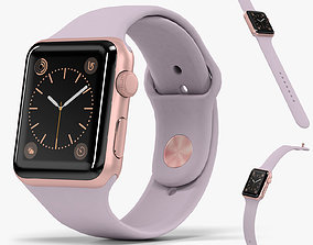 3D model Apple Watch Rose Gold Aluminum Case Lavender 1