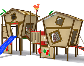 Wooden Playground 3D model game-ready