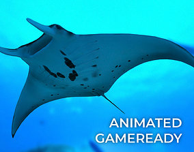 3D model animated Manta Ray with Octane Support
