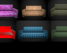 Sofa 6 texture options low and high poly 3D asset