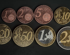 game-ready Realistic Euro Coins - Low poly 3D models
