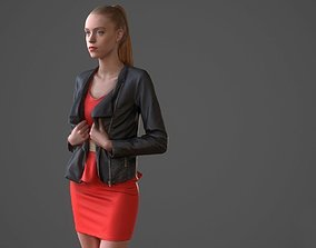 Woman in red dress 3D model game-ready