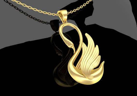 Swan Sculpture Pendant Jewelry Gold 3D print model