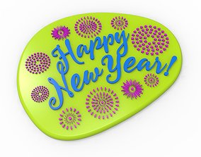 3D print model Happy New Year Text Plate