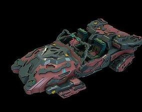 Sci fi flying cabriolet car 3D asset