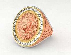 3D print model Lion Ring for Gents - GOLD