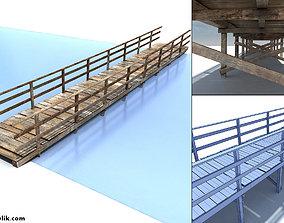 3D asset Low Poly Old Wooden Bridge
